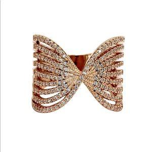 Sparkling rose gold crystal powder ring